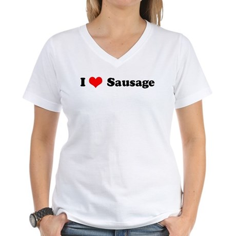 I Love Sausage Women's V-Neck T-Shirt