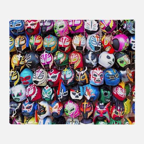 Mexican Wrestling Masks Throw Blanket