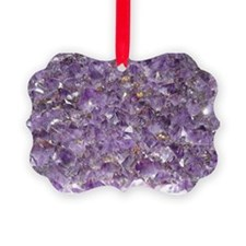 Cute Amethyst crystal gemstone Picture Ornament