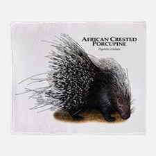 African Crested Porcupine Throw Blanket