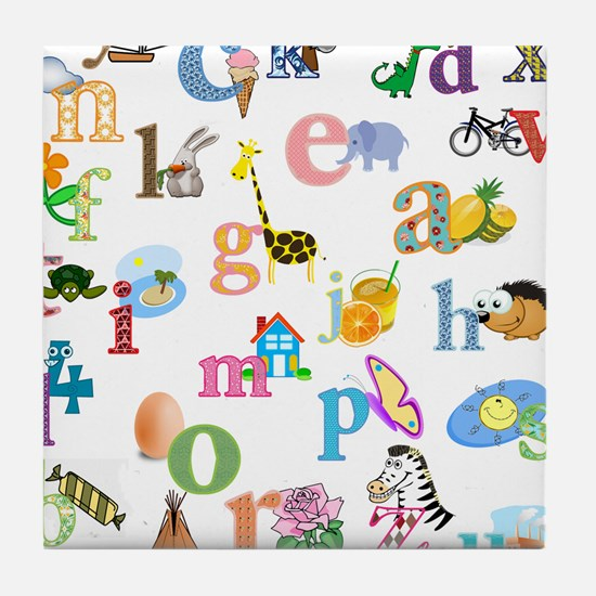 J'apprends l'alphabet francais Tile Coaster