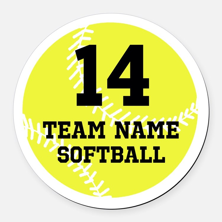 Personalize Softball Round Car Magnet