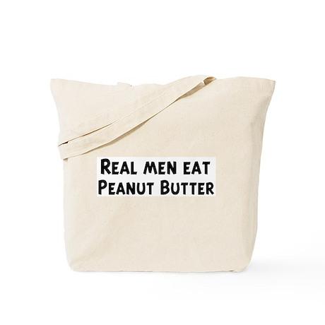 Men eat Peanut Butter Tote Bag