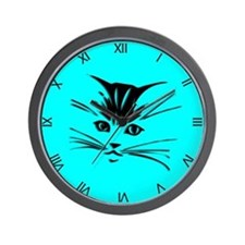 Aqua Cat Clock Wall Clock