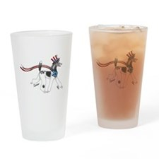 Patriotic Poodle Drinking Glass