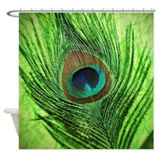 Lime Green Peacock Feather Shower Curtain