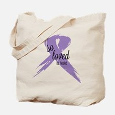 So Loved Lavender Cancer Ribbon Tote Bag