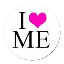 I Love Me Round Car Magnet