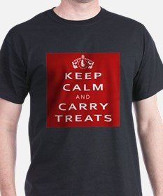 Keep Calm And Carry Treats Dark T T-Shirt