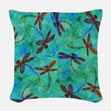 Dragonfly Dance Woven Throw Pillow