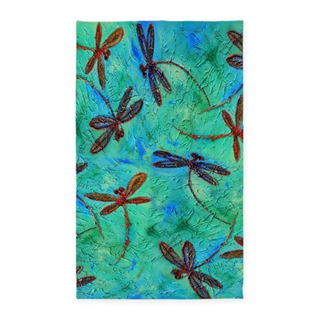 Dragonfly Dance 3 X5 Area Rug By Lyndseyart