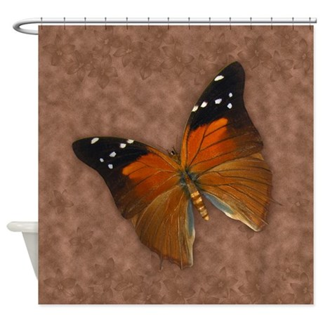 Butterfly On Beige And Brown Shower Curtain By MoonlakeDesigns