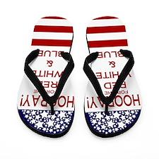 Hooray Red White Blue Flip Flops