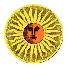 Antique Sun Round Car Magnet