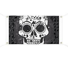 Black and white skull Banner