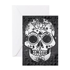 Black and white skull Greeting Cards
