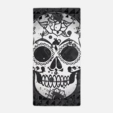 Black and white skull Beach Towel