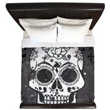 Black and white skull King Duvet