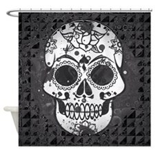 Black and white skull Shower Curtain