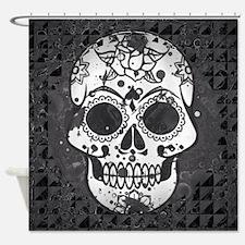 Black and white skull Shower Curtain