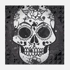 Black and white skull Tile Coaster