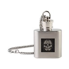 Black and white skull Flask Necklace