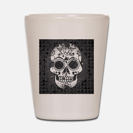 Black and white skull Shot Glass