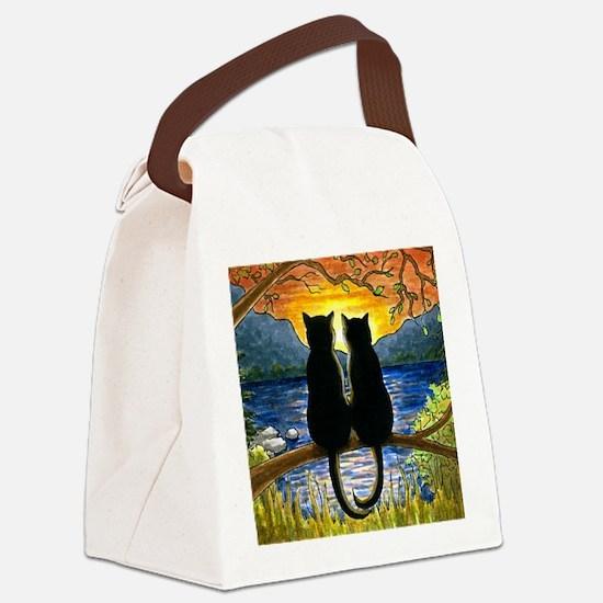 Cat 582 black cats Canvas Lunch Bag