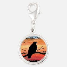 Bird 46 crow raven Silver Round Charm