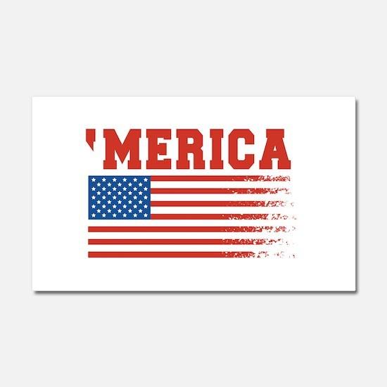 Merica Graffiti Flag 4th Of July Car Magnet 20 x 1