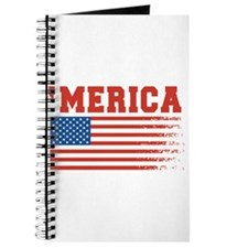 Merica Graffiti Flag 4th Of July Journal
