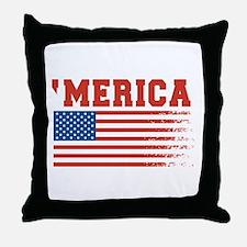 Merica Graffiti Flag 4th Of July Throw Pillow
