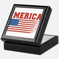 Merica Graffiti Flag 4th Of July Keepsake Box