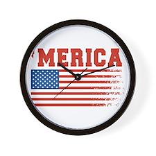 Merica Graffiti Flag 4th Of July Wall Clock