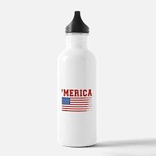 Merica Graffiti Flag 4th Of July Water Bottle
