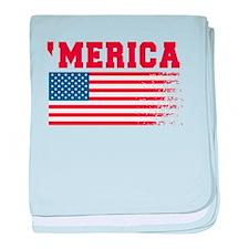 Merica Graffiti Flag 4th Of July baby blanket
