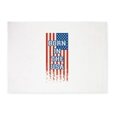 Born In The USA 4th of July Flag 5'x7'Area Rug