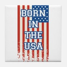 Born In The USA 4th of July Flag Tile Coaster