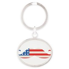 4th of July USA Flag Moustache Keychains