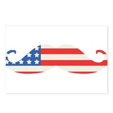 4th of July USA Flag Moustache Postcards (Package