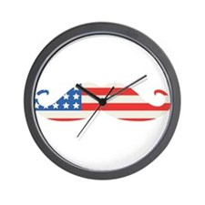 4th of July USA Flag Moustache Wall Clock