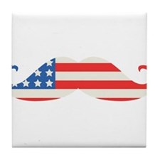 4th of July USA Flag Moustache Tile Coaster