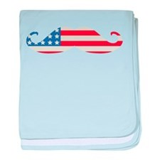 4th of July USA Flag Moustache baby blanket