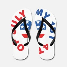 My 1st 4th Of July America Flag Heart Flip Flops