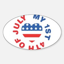 My 1st 4th Of July America Flag Heart Decal