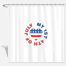 My 1st 4th Of July America Flag Heart Shower Curta