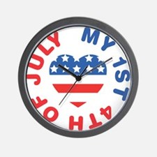 My 1st 4th Of July America Flag Heart Wall Clock