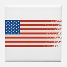 American Flag Graffiti 4th of July Tile Coaster