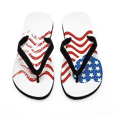Wavy American Flag Heart 4th of July Flip Flops