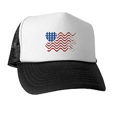 Wavy American Flag Heart 4th of July Trucker Hat